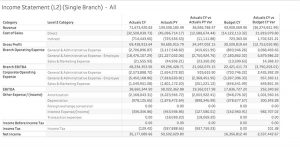 Financial Income Statement Branch